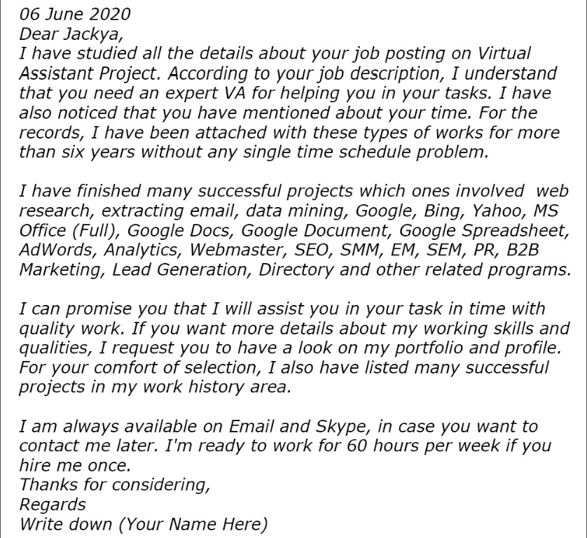 Virtual Assistant Cover Letter 2