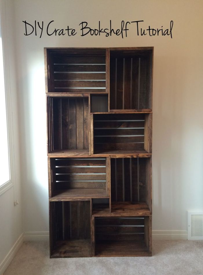 Simple DIY Wood Crate Bookcase