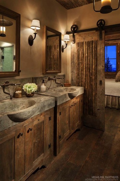 31 Best Rustic Bathroom Design and Decor Ideas for 2018 Rustic Bathroom D    cor with Concrete Sinks and Barn Door