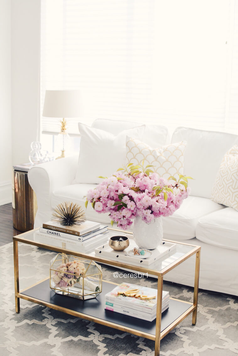 37 Best Coffee Table Decorating Ideas and Designs for 2018 Retro Glam Gold and Glass Floral Coffee Table Display