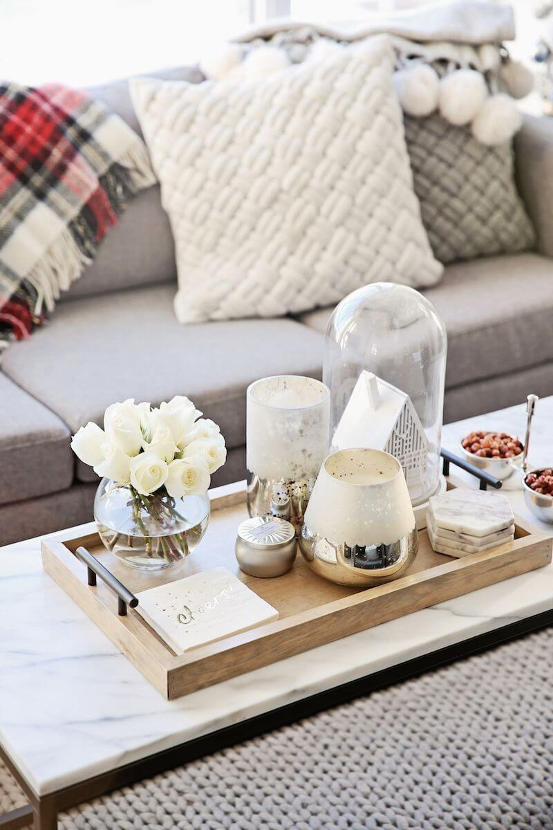 37 Best Coffee Table Decorating Ideas and Designs for 2018 Glass and Gold Tray Display on a Marble topped Table