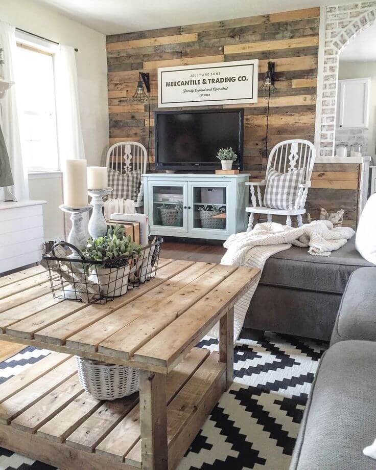 35 Best Farmhouse Living Room Decor Ideas and Designs for 2018 Recycled Rustic Barnwood Accent Wall