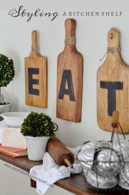 "Wood Cutting Board ""Eat"" Art"