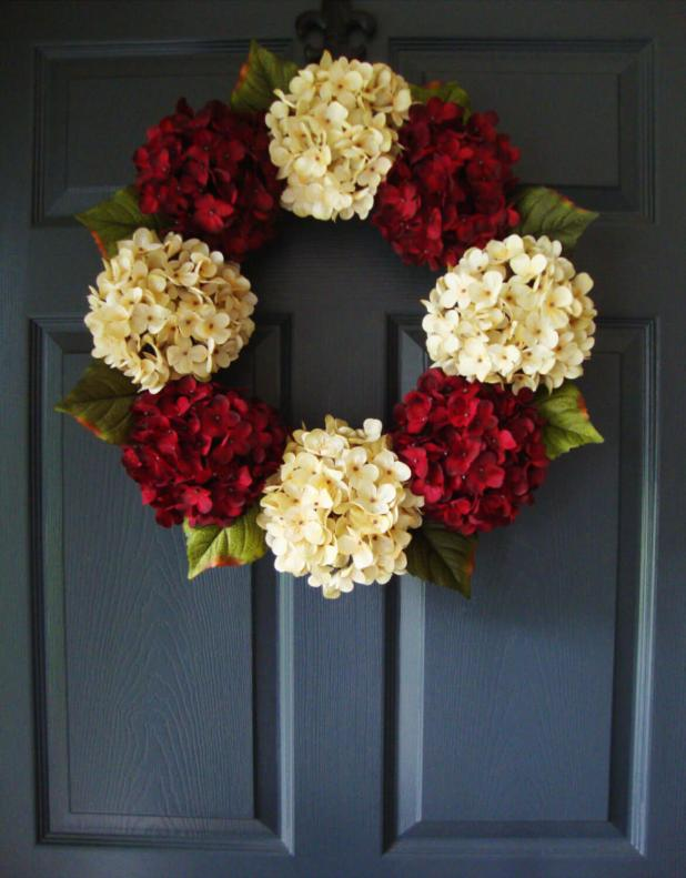 Star-Shaped Hydrangea Cluster Door Hanger