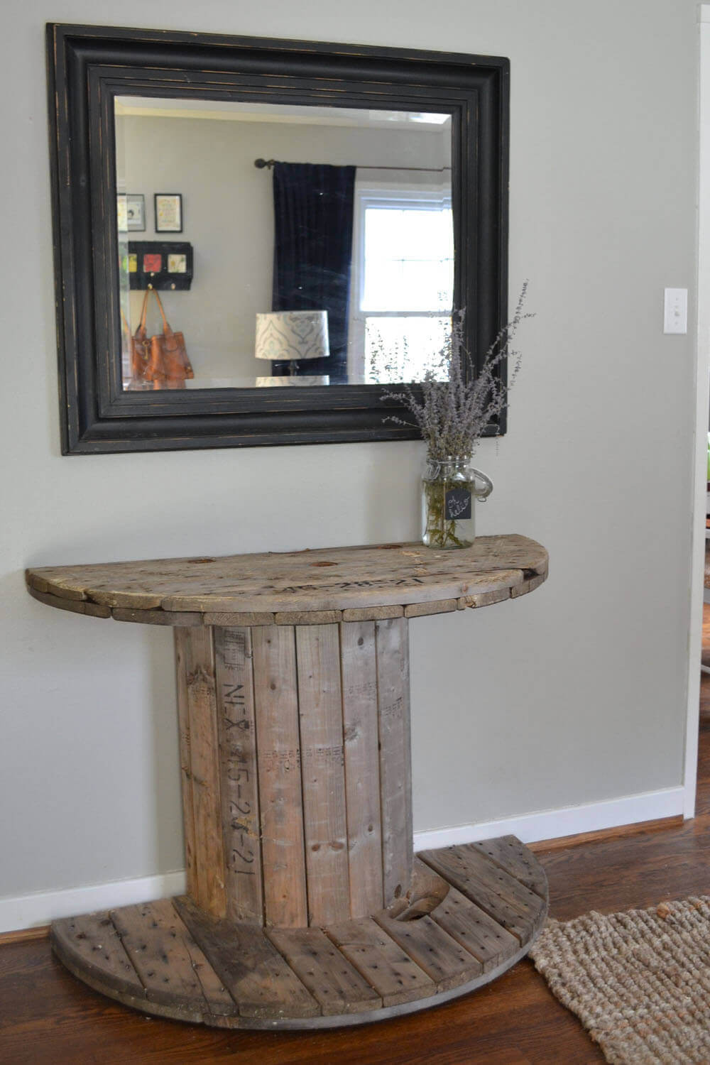 35  Best Rustic Home Decor Ideas and Designs for 2018 18  Halved Wood Spool Hallway Table