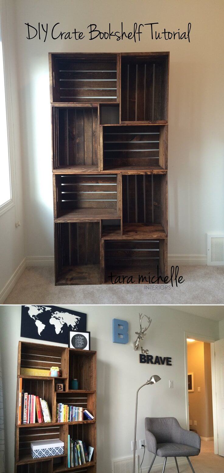 45  Best DIY Living Room Decorating Ideas and Designs for 2018 11  Make Your Own Stacked Crate Bookshelf