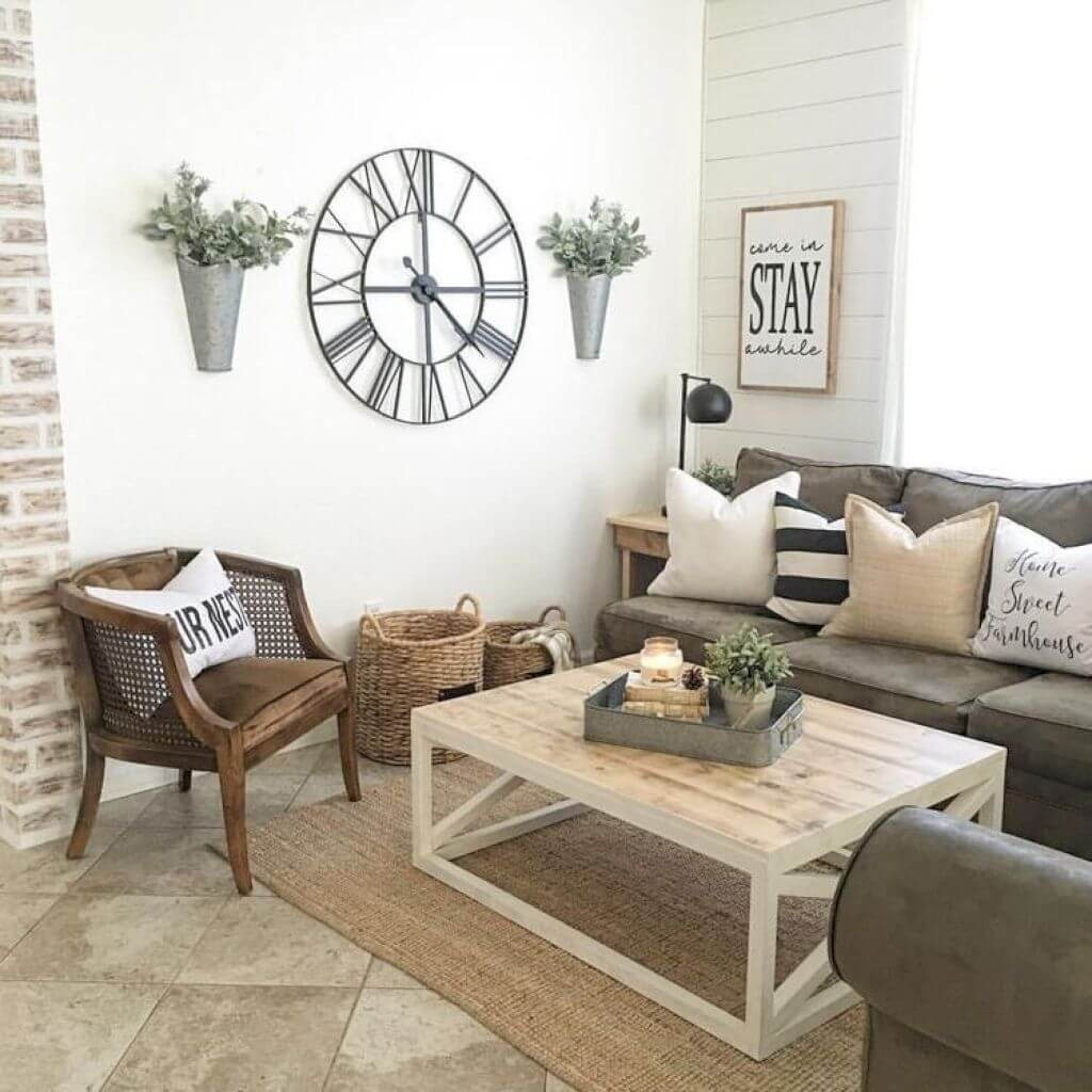 33 Best Rustic Living Room Wall Decor Ideas and Designs for 2018 Oversized Clock  Wall Vases  and    Stay    Sign