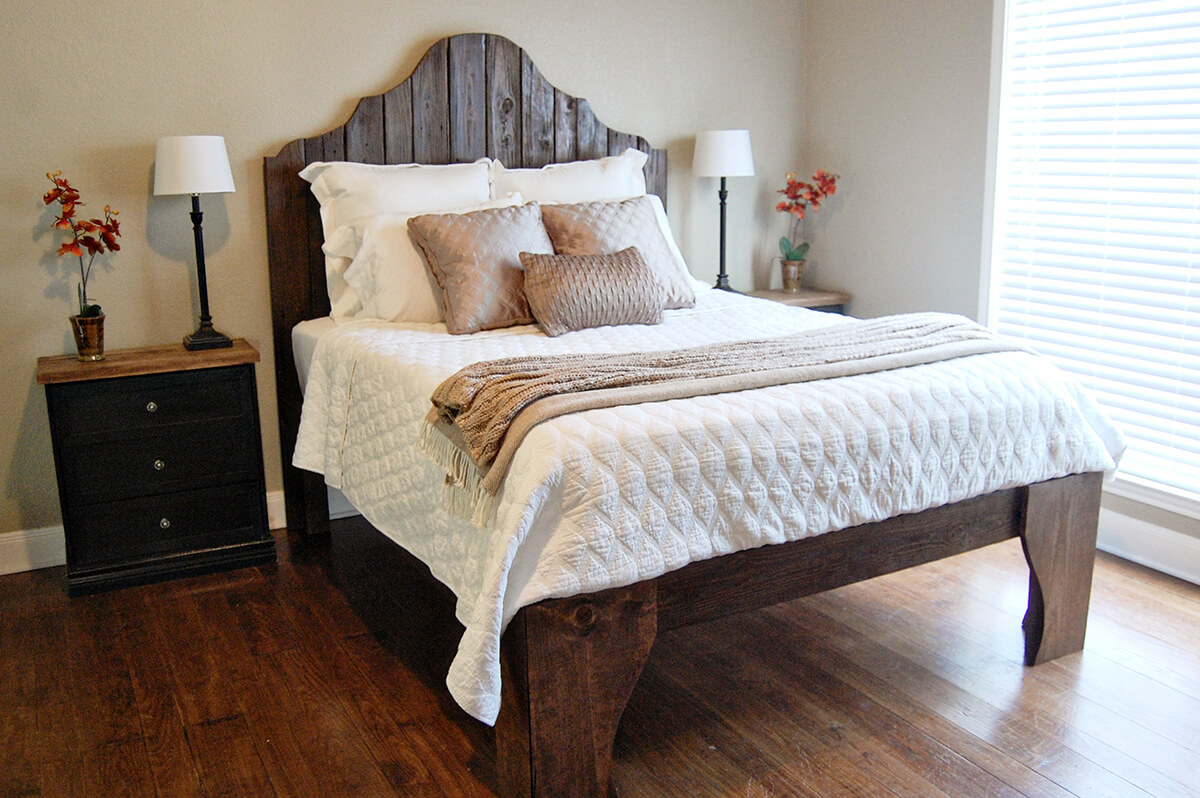 Raised Wooden Platform Bed with Pallet Headboard