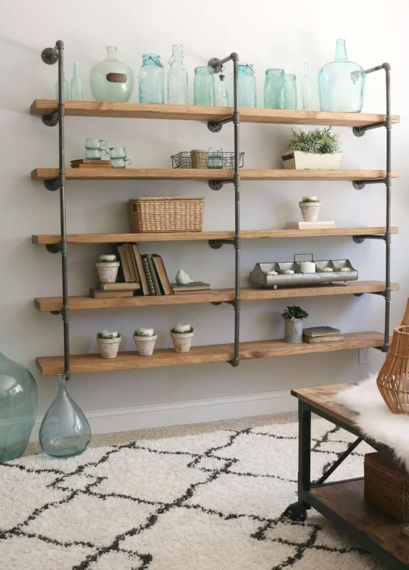 Complete DIY Wall Unit with Jointed Pipe and Wood Shelves