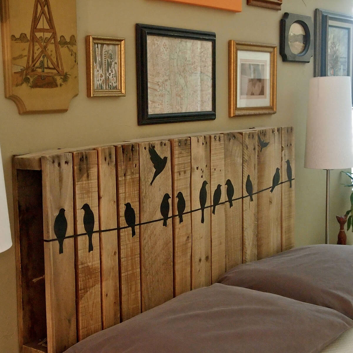 Cute Pallet Headboard with Birds-on-a-Wire Silouhette