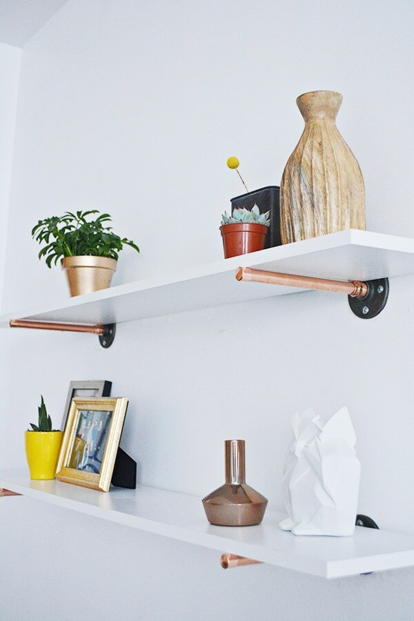 Simple Copper Pipe and White Wood Floating Shelves