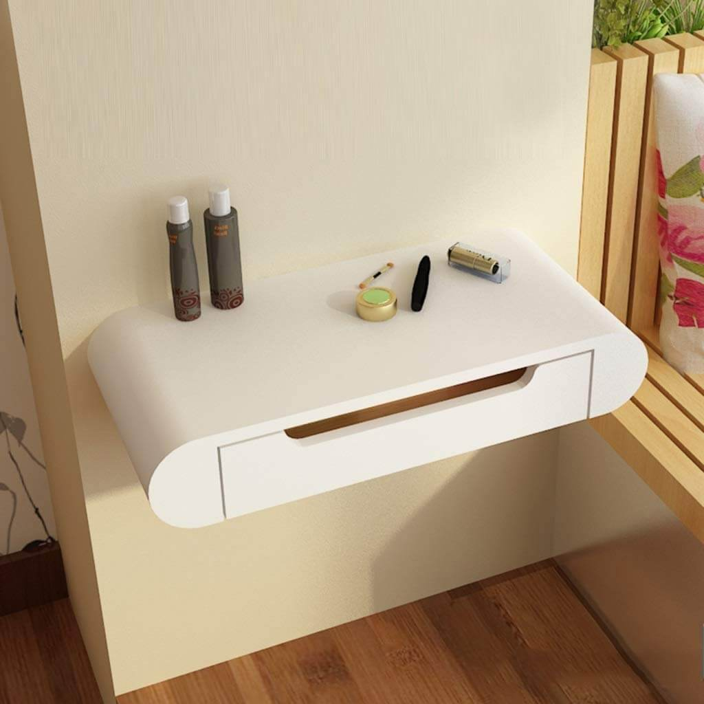 White Rounded Wall Desk Ideas