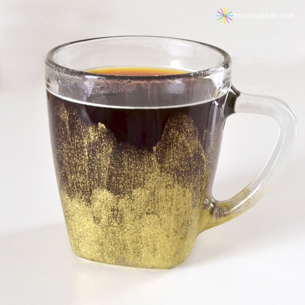 Stylish and Artsy Gold Painted Glass Mug