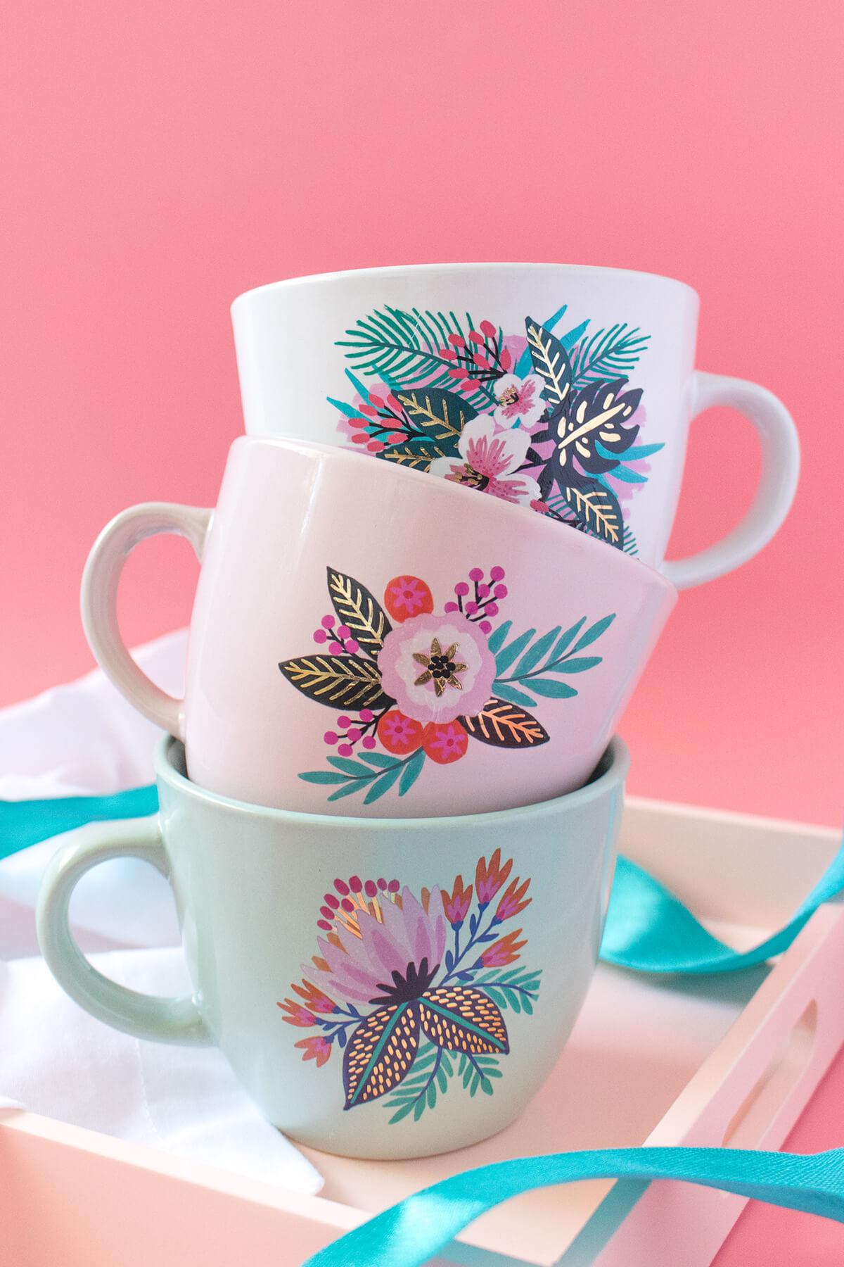 Beautiful Botanical DIY Mug Decor Idea