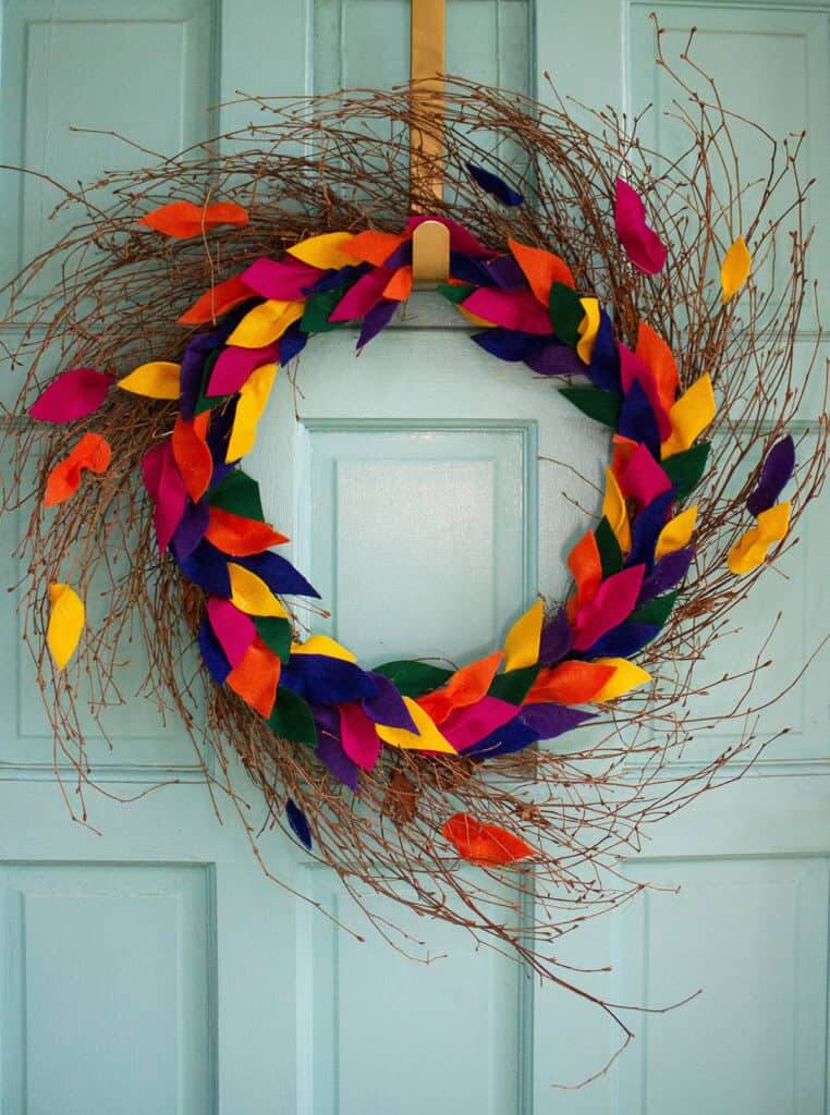Brightly Colored Fall Felt Leaf Wreath