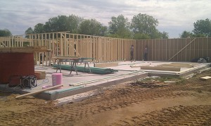 new home construction sill plate and foundation wall framing