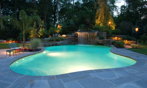 backyard-lighting-design-for-swimming-pool-waterfall-area-new-jersey