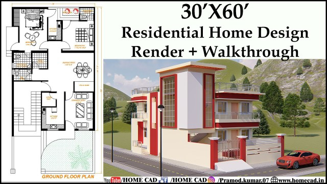 30x60 Residential Home Design With Details Home Cad