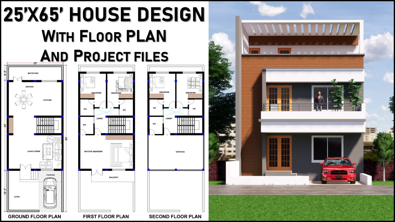 25x65 House Design With Floor Plan And Elevation Home Cad