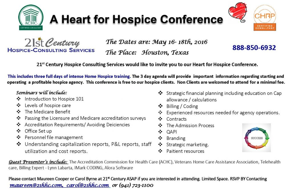 Heart for Hospice Conference website may-16th-18th