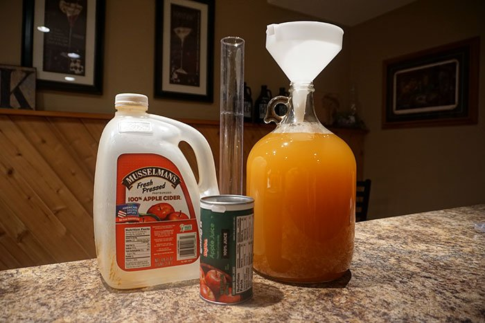 a gallon of apple cider and a can of apple juice concentrate to add sugar to the cider