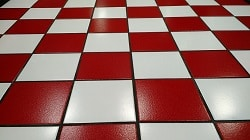 red tiled floor