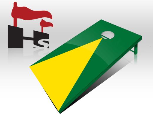 cornhole pyramid green yellow