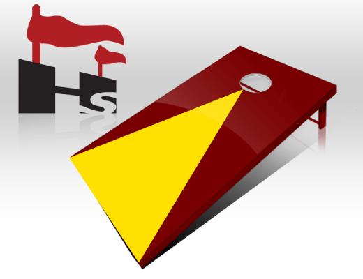 cornhole pyramid maroon yellow