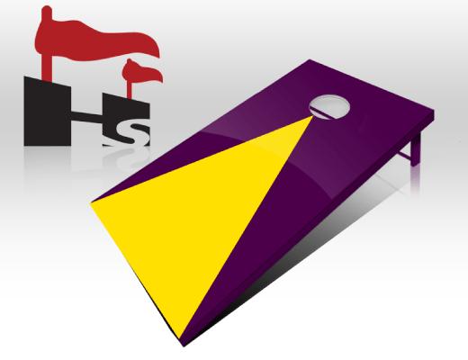 cornhole pyramid purple yellow