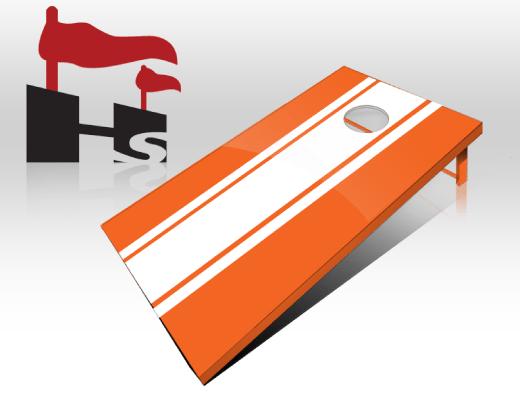 cornhole stripe orange white
