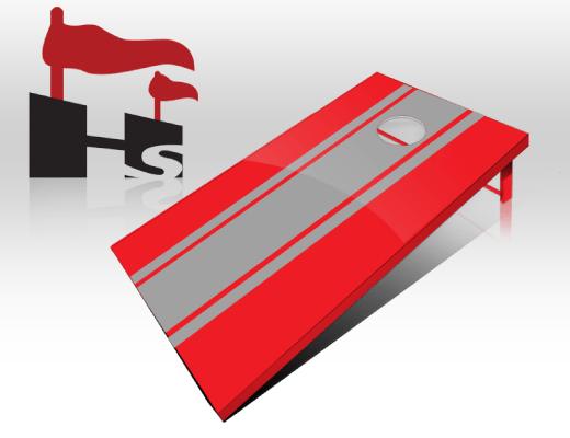 cornhole stripe red gray