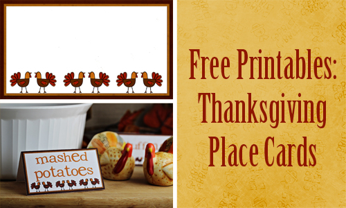 Family Fun Printable Thanksgiving Placecards