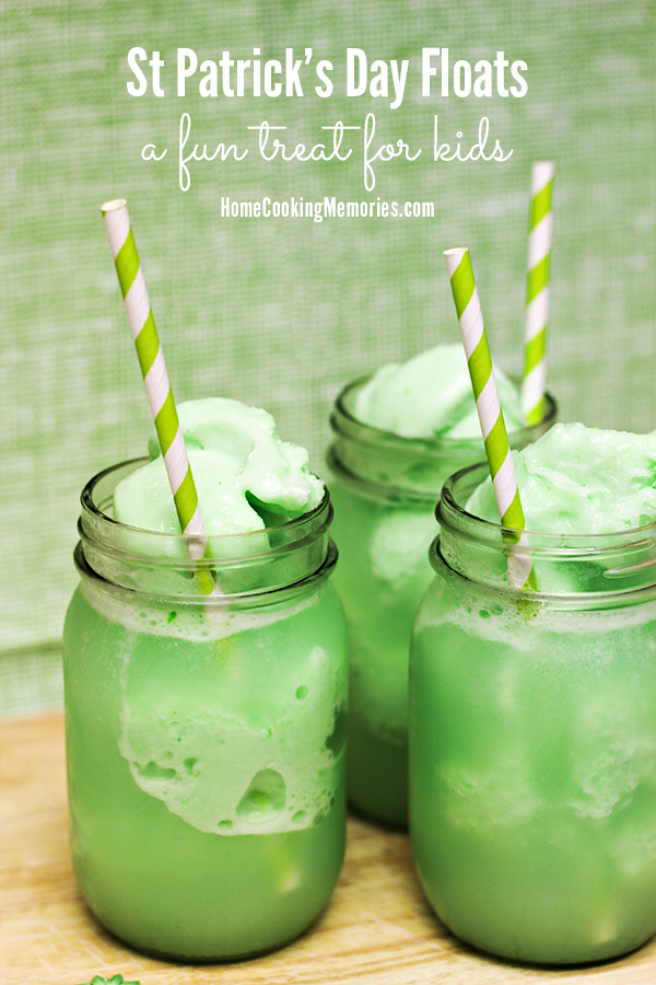 Week 164 St. Patrick's Day Lime Sherbet Floats from Home Cooking Memories - Green recipes for St Patrick's Day are a must! These quick & easy Lime Sherbet Floats for St. Patrick's Day are a kid-favorite treat that only needs 2 ingredients & 2 minutes!