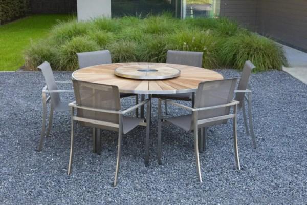 round teak table stainless steel