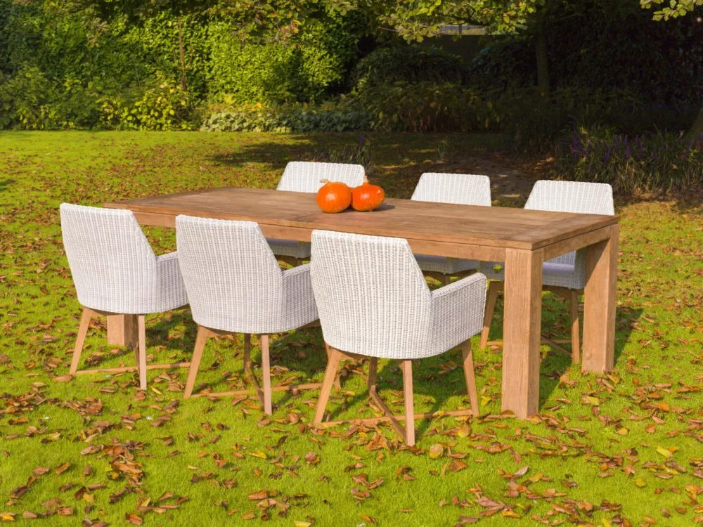 luke teak outdoor table and chairs