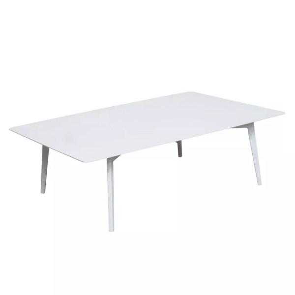 white aluminum coffee table