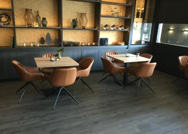 warm classy restaurant faux leather armchairs cafe