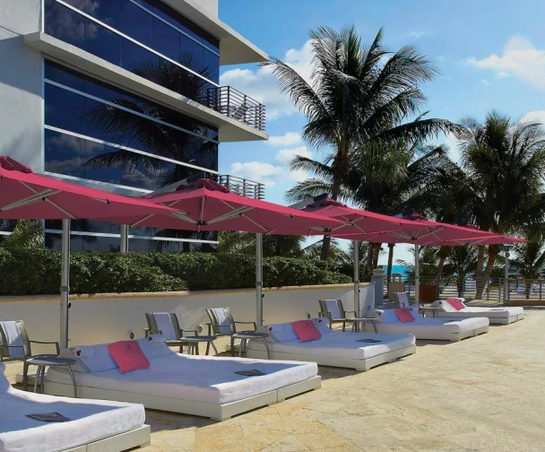 magenta commercial pool umbrella