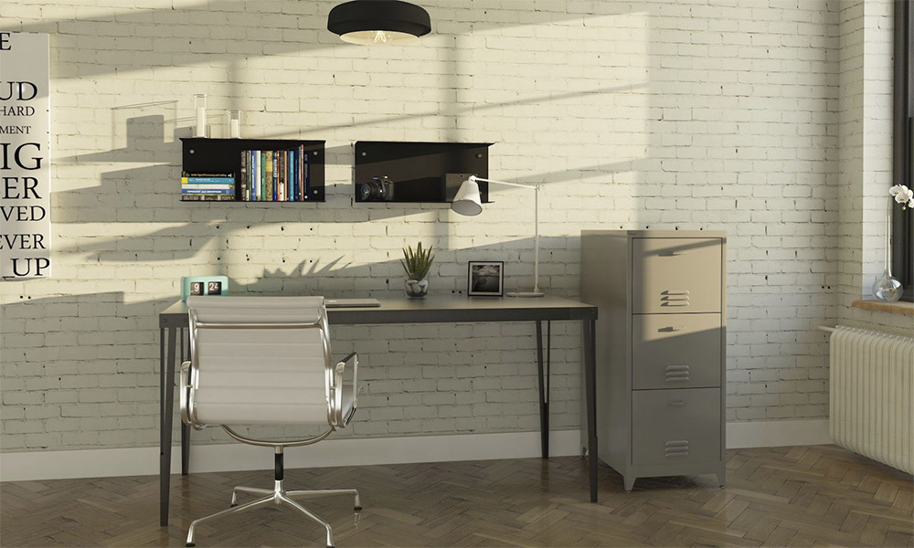 industrial style home office. whitewashed bricks office industrial style home e