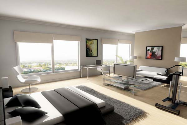 Modern-Men's-Bedroom-Grey-Carpet-And-Floor