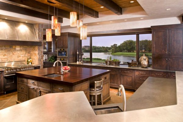 Eclectic-modern-kitchen-with-beautiful-use-of-pendant-lighting-above-the-island