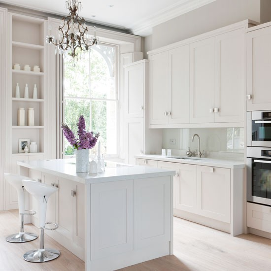 Classic-white-painted-kitchen-with-chandelier-Beautiful-Kitchens-Housetohome