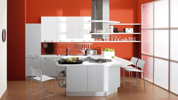 Apartment-Kitchen-Beautiful-Orange-Painted-Modern-Kitchen-Wall-Decor-With-Wall-Mount-White-Plastic-Kitchen-Cabinet-And-White-Stainless-Steel-Frame-Kitchen-Stools-Kitchen-Wall-Decor