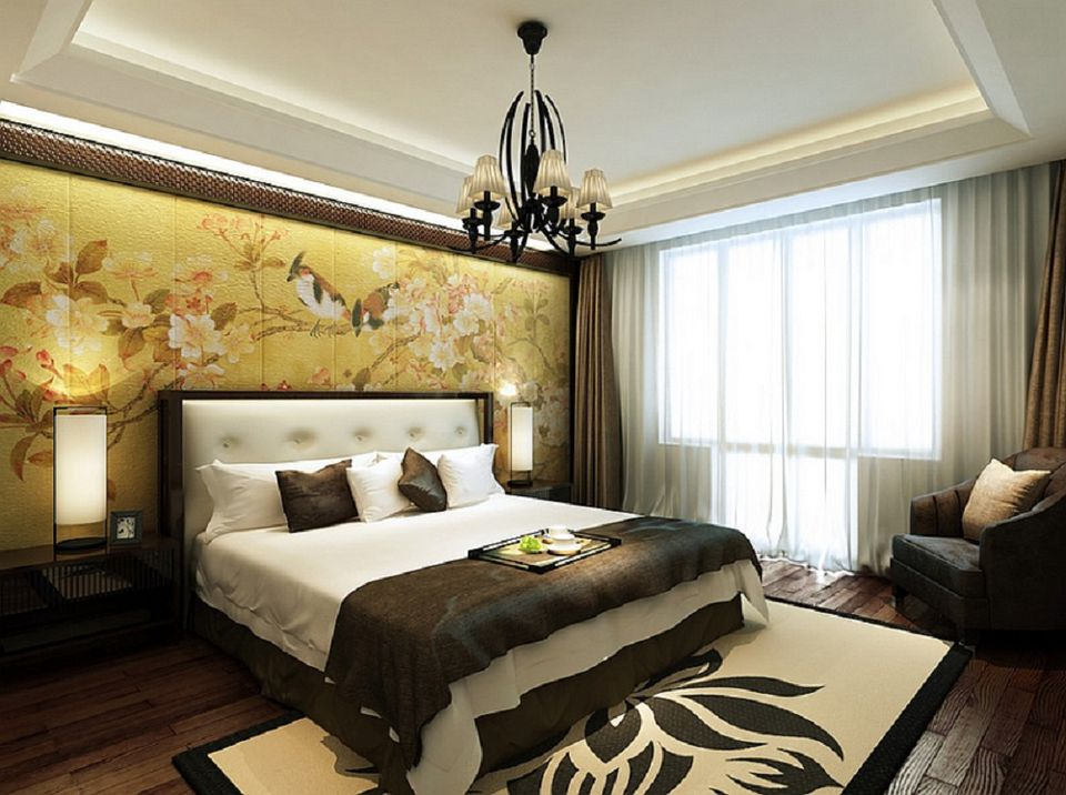 ... And This Peaceful Bedroom Is A Great Example Of It. The Beautiful  Feature Wall Depicting Some Eye Catching Flora And Fauna Instantly Makes It  Zen Like.