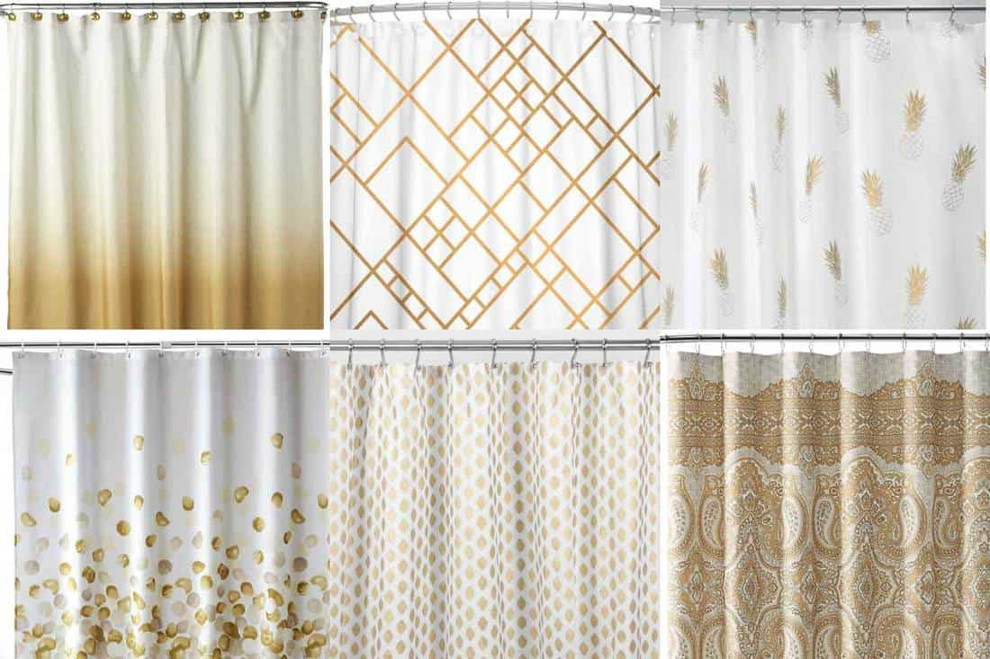 12 white and gold shower curtains to