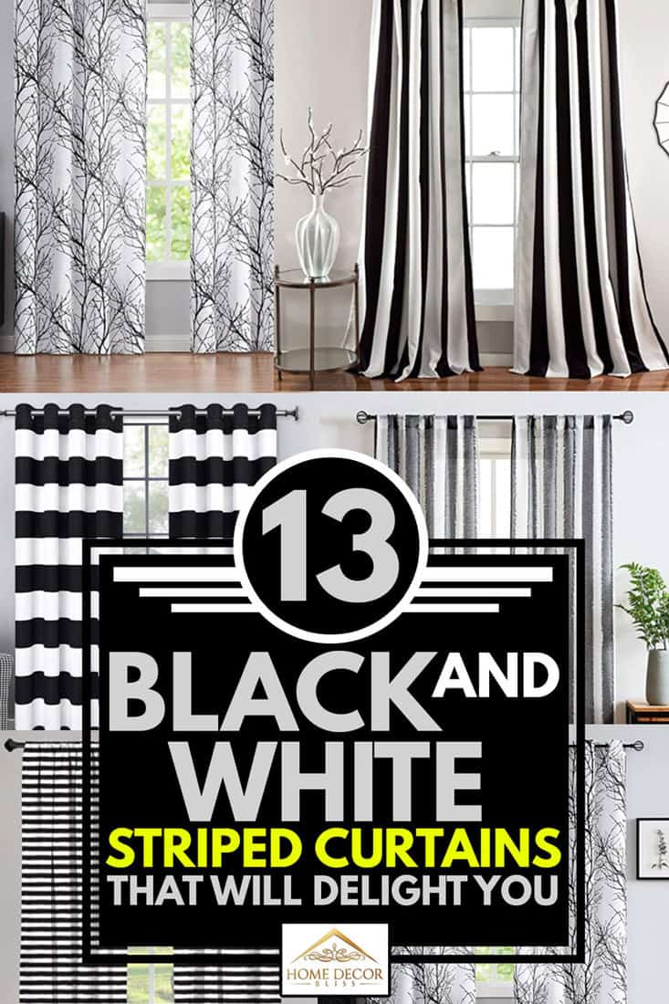 13 black and white striped curtains