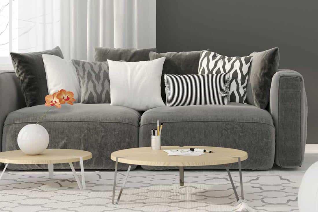 a dark gray couch
