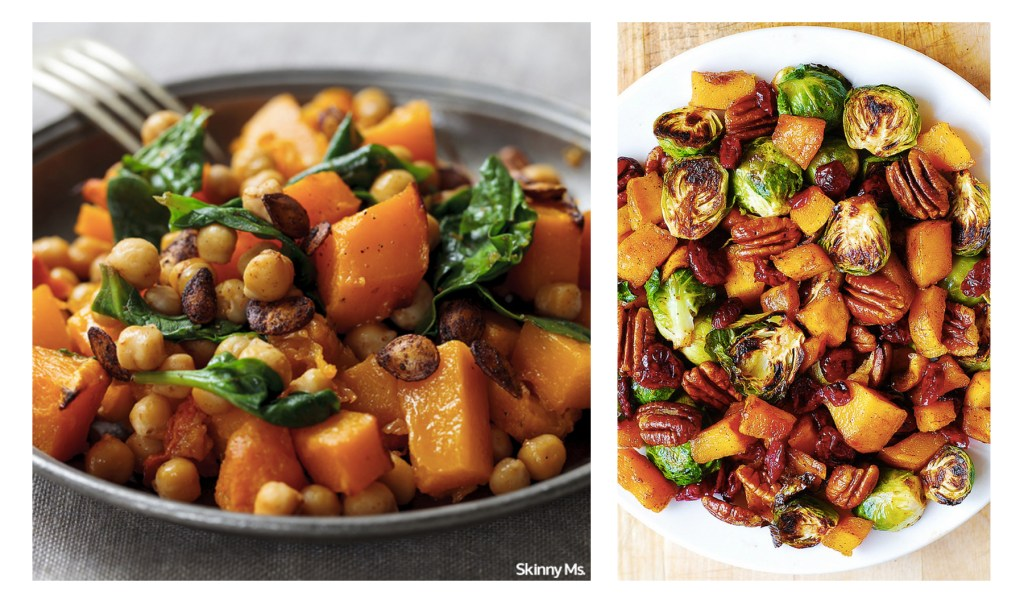 via: http://juliasalbum.com/2015/10/roasted-brussels-sprouts-cinnamon-butternut-squash-pecans-and-cranberries/ ; http://skinnyms.com/roast-butternut-squash-and-chickpea-salad-recipe/