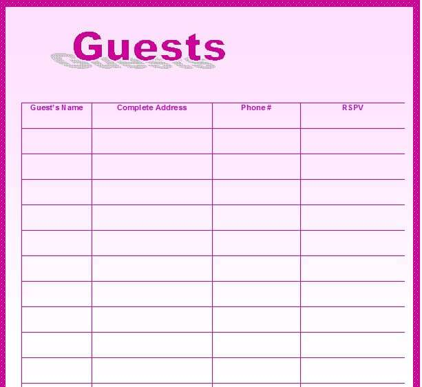 wedding guest list template for mac numbers