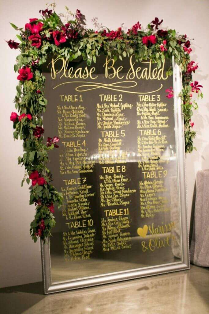 wedding seating chart display ideas